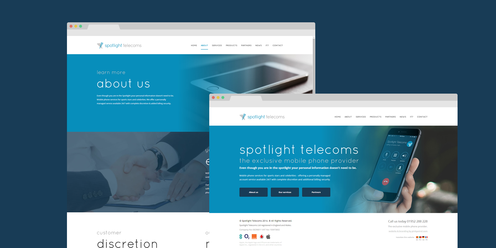 Responsive web design by PinkPetrol for Spotlight Telecoms